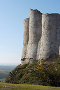LES ANDELEYS, FRANCE - OCTOBER 10: View of the embossed ramparts of the Chateau Gaillard, on October 10, 2008 in Les Andelys, Normandy, France. The chateau was built by Richard the Lionheart in 1196, came under French control in 1204 following a siege in 1203. It was later destroyed by Henry IV in 1603 and classified as Monuments Historiques in 1852. (Photo by Manuel Cohen)