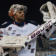 January 29, 2014:  New York Rangers goalie Henrik Lundqvist (30) salutes the crowd after defeating The New York Islanders 2-1 and sweeping both outdoor games during the Coors Light NHL Stadium Series  at Yankee Stadium in The Bronx, New York .  Credit Image: © Kostas Lymperopoulos/Cal Sport Media)