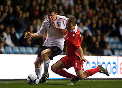 BIRMINGHAM, ENGLAND - Tuesday, October 14, 2008: Wales' Rhoys Wiggins and England's James Millner during the UEFA European Under-21 Championship Play-Off 2nd Leg match at Villa Park. (Photo by Chris Ratcliffe/Propaganda)