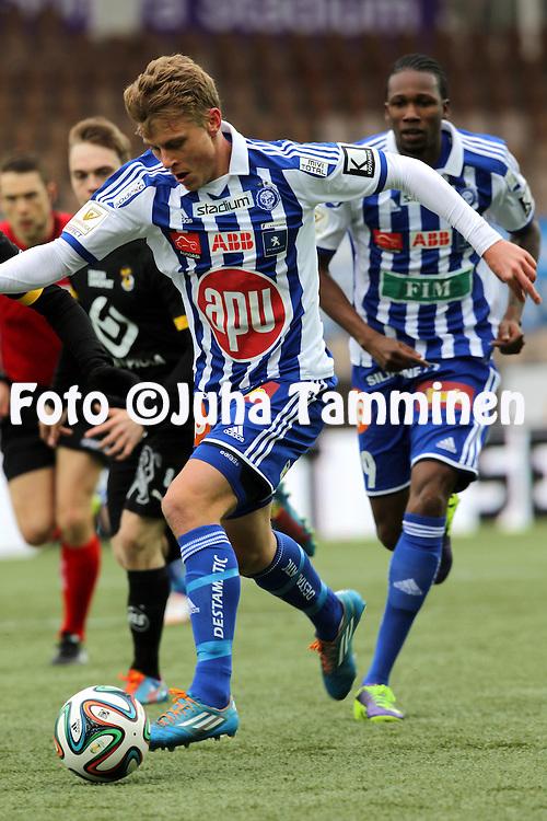12.4.2014, Sonera stadion, Helsinki.<br /> Veikkausliiga 2014.<br /> Helsingin Jalkapalloklubi - Kuopion Palloseura.<br /> Rasmus Sch&uuml;ller - HJK
