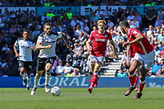 Derby County midfielder Bradley Johnson runs with the ball during the EFL Sky Bet Championship match between Derby County and Barnsley at the Pride Park, Derby, England on 6 May 2018. Picture by Aaron  Lupton.