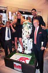 Left to right, JOHN BURTON CEO World Land Trust, SABINE ROEMER, Indian Cricket star YUVRAJ SINGH and MARK SHAND at Emerald for Elephants exhibition held at Selfridge's, Oxford Street, London on 23rd June 2010.
