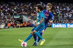 August 13, 2017 - Barcelona, Catalonia, Spain - Real Madrid defender MARCELO competes with FC Barcelona midfielder I. RAKITIC for the ball during the Spanish Super Cup Final 1st leg between FC Barcelona and Real Madrid at the Camp Nou stadium in Barcelona (Credit Image: © Matthias Oesterle via ZUMA Wire)