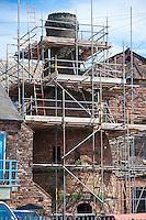 Bottle Kiln under conservation and restoration in 2014 at Minkstone Works, Longton, Stoke on Trent, Staffordshire, UK.