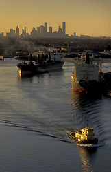 Port of Houston and downtown Houston skyline at sunset