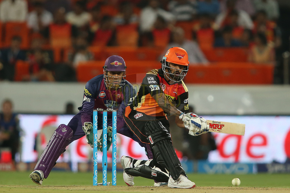 Shikhar Dhawan of Sunrisers Hyderabad attempts to sweep a delivery during match 22 of the Vivo IPL 2016 (Indian Premier League) between the Sunrisers Hyderabad and the Rising Pune Supergiants held at the Rajiv Gandhi Intl. Cricket Stadium, Hyderabad on the 26th April 2016<br /> <br /> Photo by Shaun Roy / IPL/ SPORTZPICS
