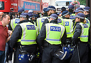 English Defence League <br /> protest at Charing Cross with a counter Unite Against Fascism protest on Victoria Embankment <br /> 24th June 2017 <br /> <br /> General View and Metropolitan Police containing the march. <br /> <br /> Photograph by Elliott Franks <br /> Image licensed to Elliott Franks Photography Services