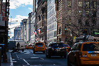 US, New York City. 5th Avenue at New York Public Library.