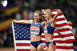 Emma Coburn and Courtney Frerichs of the USA celebrate their gold and silver medals respectively - Mandatory byline: Patrick Khachfe/JMP - 07966 386802 - 11/08/2017 - ATHLETICS - London Stadium - London, England - Women's 3,000m Steeplechase Final - IAAF World Championships