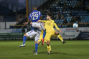 Southport FC Forward Jamie Allen and Hakeem Odoffin battle during the Vanarama National League match between Southport and Eastleigh at the Merseyrail Community Stadium, Southport, United Kingdom on 17 December 2016. Photo by Pete Burns.