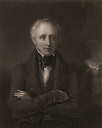 William Wordsworth (1770-1850) English poet born at Cockermouth, Cumbria. Succeeded Robert Southey as Poet Laureate in 1843. Engraving from 'National Portrait Gallery'  (London, 1833).