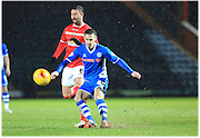 Michael Rose, Marcus Haber during the Sky Bet League 1 match between Rochdale and Crewe Alexandra at Spotland, Rochdale, England on 16 February 2016. Photo by Daniel Youngs.