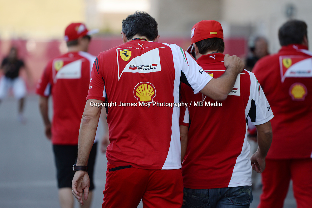(L to R): Marco Mattiacci (ITA) Ferrari Team Principal with Fernando Alonso (ESP) Ferrari.<br /> United States Grand Prix, Thursday 30th October 2014. Circuit of the Americas, Austin, Texas, USA.