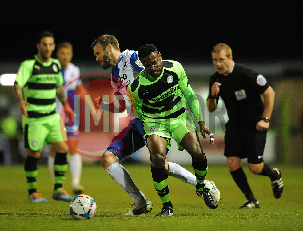 Forest Green Rovers's Dale Bennett jostles for the ball with Bristol Rovers' Andy Monkhouse - Photo mandatory by-line: Dougie Allward/JMP - Mobile: 07966 386802 - 29/04/2015 - SPORT - Football - Nailsworth - The New Lawn - Forest Green Rovers v Bristol Rovers - Vanarama Football Conference