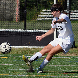 Staff photos by Tom Kelly IV<br /> Strath Haven's Kira Venturini (19) kicks the ball down field during the Agnes Irwin School vs Strath Haven girls soccer scrimmage in Nether Providence Township, Thursday August 28, 2014.
