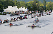 Henley on Thames, England, United Kingdom, Sunday, 07.07.19, Edinburgh University and Nottingham Rowing Club<br /> and Algemene Amsterdamsche Studenten Roeivereniging Skøll and Algemene Utrechtse Studenten Roeivereniging Orca, Netherland, after passing the 1 1/4 mile post, in the Final, of the Prince of Wales Challenge Cup, Henley Royal Regatta,  Henley Reach, [©Karon PHILLIPS/Intersport Images]<br /> <br /> 14:46:10 1919 - 2019, Royal Henley Peace Regatta Centenary,