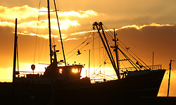 © Licensed to London News Pictures. 12/11/2017. Newlyn, UK.  The sun rises behind a fishing trawler in Newlyn Harbour. Photo credit: Jason Bryant/LNP