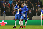 Brighton and Hove Albion defender Gaetan Bong (3) congratulates Brighton and Hove Albion midfielder Jose Izquierdo (19) after his goal during the Premier League match between Brighton and Hove Albion and West Ham United at the American Express Community Stadium, Brighton and Hove, England on 3 February 2018. Picture by Phil Duncan.