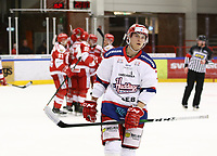2020-02-12 | Ljungby, Sweden: Huddinge IK (7) Gustav Ahnelöv depressed after Troja scoring a goal during the game between IF Troja / Ljungby and Huddinge IK at Ljungby Arena ( Photo by: Fredrik Sten | Swe Press Photo )<br /> <br /> Keywords: Ljungby, Icehockey, HockeyEttan, Ljungby Arena, IF Troja / Ljungby, Huddinge IK, fsth200212, ATG HockeyEttan, Allettan