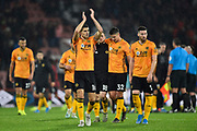 Conor Coady (16) of Wolverhampton Wanderers applauds the fas as he celebrates the 2-1 win at full time during the Premier League match between Bournemouth and Wolverhampton Wanderers at the Vitality Stadium, Bournemouth, England on 23 November 2019.
