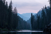 A calm section of the Selway River in the evening, Idaho.