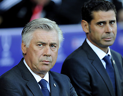 Real Madrid Manager, Carlo Ancelotti and Real Madrid Assistant Coach, Fernando Hierro - Photo mandatory by-line: Joe Meredith/JMP - Mobile: 07966 386802 12/08/2014 - SPORT - FOOTBALL - Cardiff - Cardiff City Stadium - Real Madrid v Sevilla - UEFA Super Cup