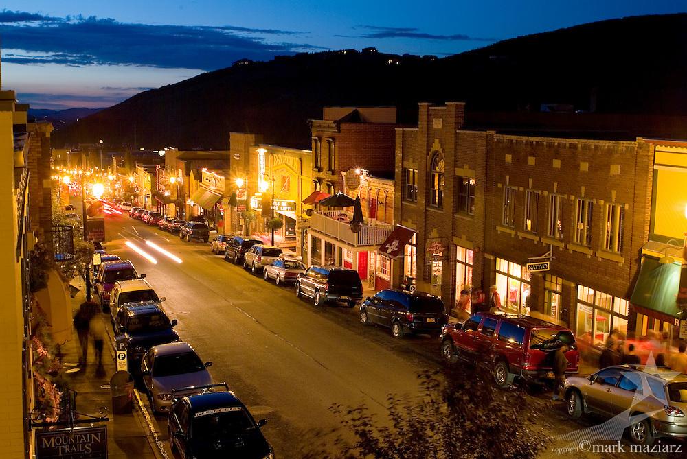 upper end of Main Street at dusk in summer