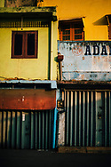 Colorful walls near the local market in downtown Colombo, Sri Lanka, Asia