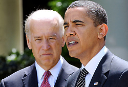 """File photo dated May 12, 2009 of President Barack Obama flanked by Vice President Joe Biden, delivers remarks at a ceremony honoring Top Cops award winners in the Rose Garden at the White House in Washington, DC. Former President Barack Obama endorsed Joe Biden, his two-term vice president, on Tuesday morning in the race for the White House. """"Choosing Joe to be my vice president was one of the best decisions I ever made, and he became a close friend. And I believe Joe has all the qualities we need in a president right now,"""" Obama said in a video posted to Twitter. Photo by Olivier Douliery/ABACAPRESS.COM (Pictured:Barack Obama , Joe Biden)"""