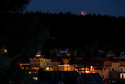 """Lunar Eclipse over Downtown Truckee, CA. 1"" - Photograph of the December 10th, 2011 lunar eclipse over Downtown Truckee, California."