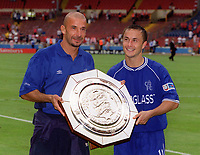 Gainluca Vialli the Chelsea Manager and Dennis Wise the Chelsea captain with the Charity Shield. Chelsea v Manchester United. FA Charity Shield. Wembley 13/8/00. Credit: Colorsport.