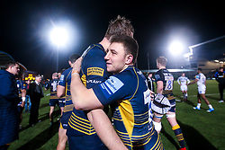 Duncan Weir of Worcester Warriors celebrates with Pierce Phillips of Worcester Warriors after their side's win over Bath Rugby - Mandatory by-line: Robbie Stephenson/JMP - 05/01/2019 - RUGBY - Sixways Stadium - Worcester, England - Worcester Warriors v Bath Rugby - Gallagher Premiership Rugby