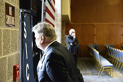 EARL BAKER of Wayne, PA., looks out as people arrive at Connelly Center for the March 16, 2016 Town Hall meeting of Ohio Gov. John Kasich, at Villanova U. in the suburbs of Philadelphia, PA.