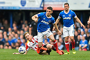 Portsmouth Forward, Conor Chaplin (19) skips past a challenge during the EFL Sky Bet League 2 match between Portsmouth and Cheltenham Town at Fratton Park, Portsmouth, England on 6 May 2017. Photo by Adam Rivers.