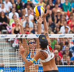 05.08.2011, Klagenfurt, Strandbad, AUT, Beachvolleyball World Tour Grand Slam 2011, im Bild Lauren Fendrick USA, Doris Schweiger AUT, EXPA Pictures © 2011, PhotoCredit EXPA Gert Steinthaler