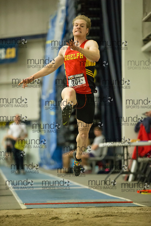 Windsor, Ontario ---2015-03-12--- Shawn Beaudoin of Guelph competes in the pentathlon long jump  at the 2015 CIS Track and Field Championships in Windsor, Ontario, March 12, 2015.<br /> GEOFF ROBINS/ Mundo Sport Images