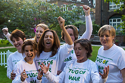 Westminster, London, June 6th 2016. Female MPs pull against the McMillans wonen's team as teams from uk industry as well as the House of Commons and the House of Lords compete in the annual McMillan Cancer Charity tug o' war. PICTURED: Jo Cox, second left,  in the House of Commons women's team during this year's Parliamentary tug-of-war.