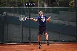 April 23, 2018 - Barcelona, Spain - BARCELONA, SPAIN - APRIL 23: Dominic Thiem from France training with his coach Günter Bresnik during the Barcelona Open Banc Sabadell 66º Trofeo Conde de Godo at Reial Club Tenis Barcelona on 23 of April of 2018 in Barcelona. (Credit Image: © Xavier Bonilla/NurPhoto via ZUMA Press)