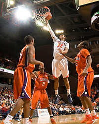 Virginia forward Mike Scott (32) in action against Clemson.  The Virginia Cavaliers defeated the #12 ranked Clemson Tigers in overtime 85-81 at the John Paul Jones Arena on the Grounds of the University of Virginia in Charlottesville, VA on February 15, 2009.