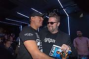 Club Air, Amsterdam. Boekpresentatie van de autobiografie van DJ Jean getiteld Gekkenhuis. Op de foto: DJ Jean en Martin Koolhoven