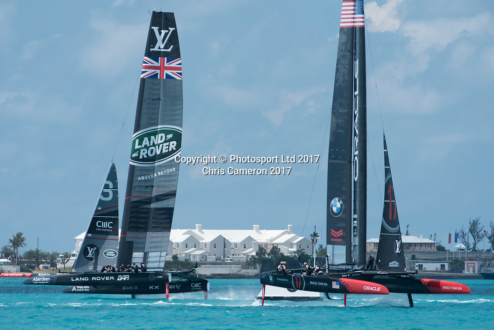 Race eight on day two of the America's Cup Challenger series. Land Rover BAR (GBR) against Oracle Team USA.  Oracle win. Bermuda. 28/5/2017<br /> Copyright photo: Chris Cameron / www.photosport.nz<br /> For editorial news use only NO AGENTS