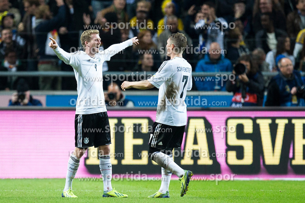 15.10.2013, Friends Arena, Stockholm, SWE, FIFA WM Qualifikation, Schweden vs Deutschland, Gruppe C, im Bild, Germany 9 Andr&eacute; Sch&uuml;rrle Schurrle scores the 5-3 goal, , goal, m&aring;l, jubel, firande, celebration, happiness // during the FIFA World Cup Qualifier Group C Match between Sweden and Germany at the Friends Arena, Stockholm, Sweden on 2013/10/15. EXPA Pictures &copy; 2013, PhotoCredit: EXPA/ PicAgency Skycam/ Michael Campanella<br /> <br /> ***** ATTENTION - OUT OF SWE *****