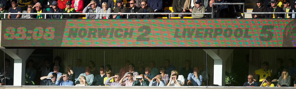 NORWICH, ENGLAND - Saturday, September 29, 2012: The scoreboard records Liverpool's 5-2 victory over Norwich City during the Premiership match at Carrow Road. (Pic by David Rawcliffe/Propaganda)