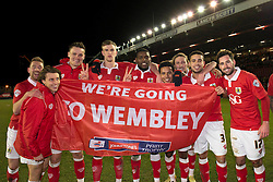 Bristol City players celebrate getting to wembley after beating Gillingham in the Johnstone Paint Trophy area southern final.<br /> <br /> From Left to right - Scott Wagstaff, Luke Freeman, Matt Smith, Aden Flint, Jay Emmanuel-Thomas, Korey Smith, Luke Ayling, Derrick Williams and Greg Cunningham<br /> <br />  - Photo mandatory by-line: Dougie Allward/JMP - Mobile: 07966 386802 - 29/01/2015 - SPORT - Football - Bristol - Ashton Gate - Bristol City v Gillingham - Johnstone Paint Trophy