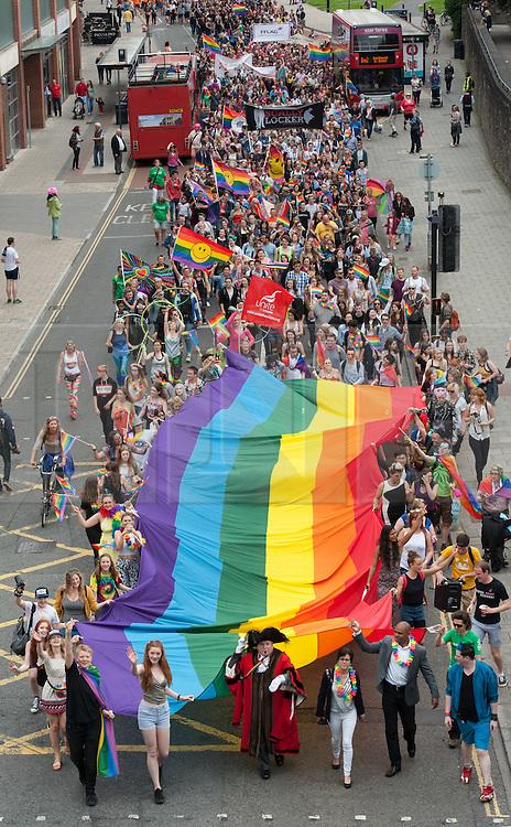 © Licensed to London News Pictures.09/07/2016. Bristol, UK. Bristol Pride parade through the city centre, celebrating the LGBT+ community. Photo credit : Simon Chapman/LNP