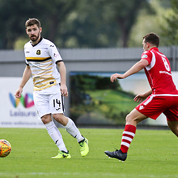 Kyle Hutton looks for a pass during the Dumbarton v Connah's Quay Nomads Irn Bru cup second round 2 September 2017<br /> <br /> <br /> <br /> <br /> (c) Andy Scott | SportPix.org.uk