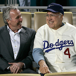 Dodger owners Frank McCourt with Duke Snider before a National League Division Series baseball game between the Chicago Cubs and the Los Angeles Dodgers on Saturday October 4, 2008, at Dodger Stadium. (SGVN/Staff Photo by Keith Birmingham/SPORTS)