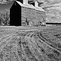 Large abandoned agriculture buildings in Rolette County USA