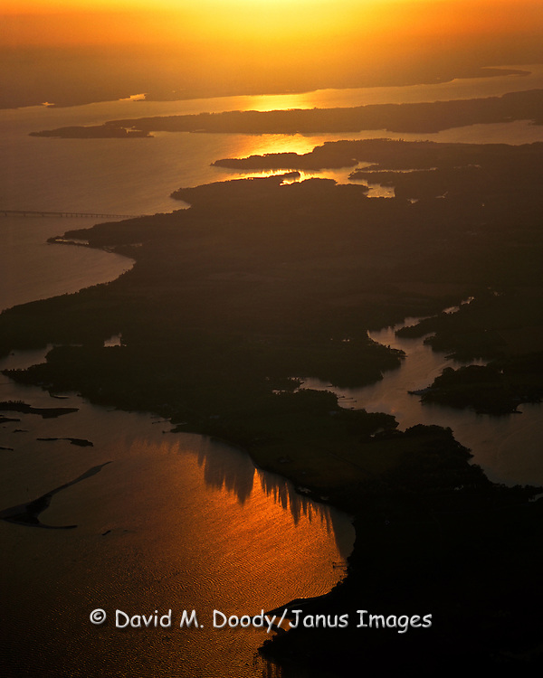 Aerial view of sunset over the Rappahannock River, Virginia. lower Chesapeake Bay region