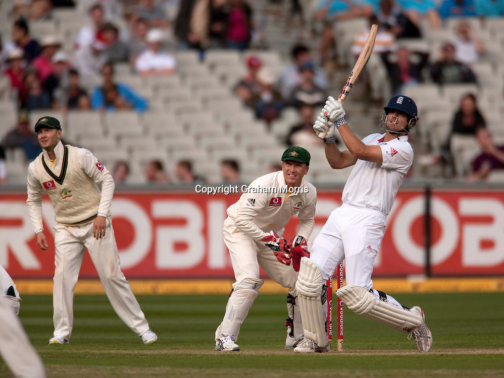 Wicket keeper Brad Haddin and slip fielder Michael Clarke watche Alastair Cook pull Steve Smith for four during the fourth Ashes test match between Australia and England at the MCG in Melbourne, Australia. Photo: Graham Morris (Tel: +44(0)20 8969 4192 Email: sales@cricketpix.com) 26/12/10